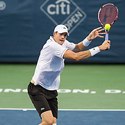 JOHN ISNER of the United States plays against Steve Johnson of the United States  at Day 6 of the Citi Open at the Rock Creek Tennis Center in Washington, D.C. Isner won in 3 sets.