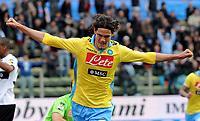"""esultanza dopo il gol di Edinson CAVANI (Napoli) goal celebration <br /> Parma 04/03/2012 Stadio """"Ennio Tardini""""<br /> Serie A 2011/2012<br /> Football Calcio Parma Vs Napoli<br /> Foto Insidefoto Alessandro Sabattini"""