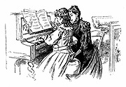 Young girl being given a piano lesson. Wood engraving, Paris, 1889