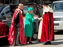 May 24, 2017 - London, London, United Kingdom - Image ©Licensed to i-Images Picture Agency. 24/05/2017. London, United Kingdom. The Queen and Prince Philip at Service at St Paul's Cathedral...Her Majesty Queen Elizabeth II and Prince Philip attend a service at St Paul's Cathedral. The Service is to mark the 100th anniversary of the Order of the British Empire (OBE).  Nearly 2000 people who are holders of the awards, GBE, KBE, CBE, OBE, MBE and the British Empire Medal will also join the congregation to mark the Centenary...Picture by Pete Maclaine / i-Images (Credit Image: © Pete Maclaine/i-Images via ZUMA Press)