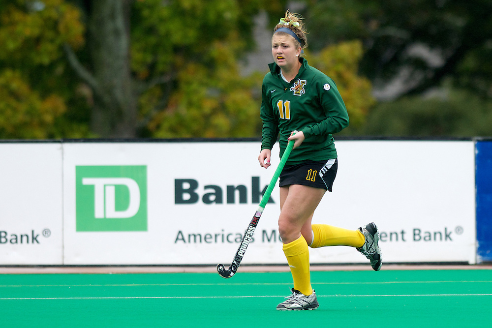 Catamounts midfielder Callie Bellimer (11) in action during the women's field hockey game between the Maine Black Bears and the Vermont Catamounts at Moulton/Winder Field on Saturday afternoon September 29, 2012 in Burlington, Vermont.