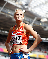 Netherland's Anouk Vetter after the 100m element of the Women's Heptathlon during day two of the 2017 IAAF World Championships at the London Stadium. PRESS ASSOCIATION Photo. Picture date: Saturday August 5, 2017. See PA story ATHLETICS World. Photo credit should read: Martin Rickett/PA Wire. RESTRICTIONS: Editorial use only. No transmission of sound or moving images and no video simulation.