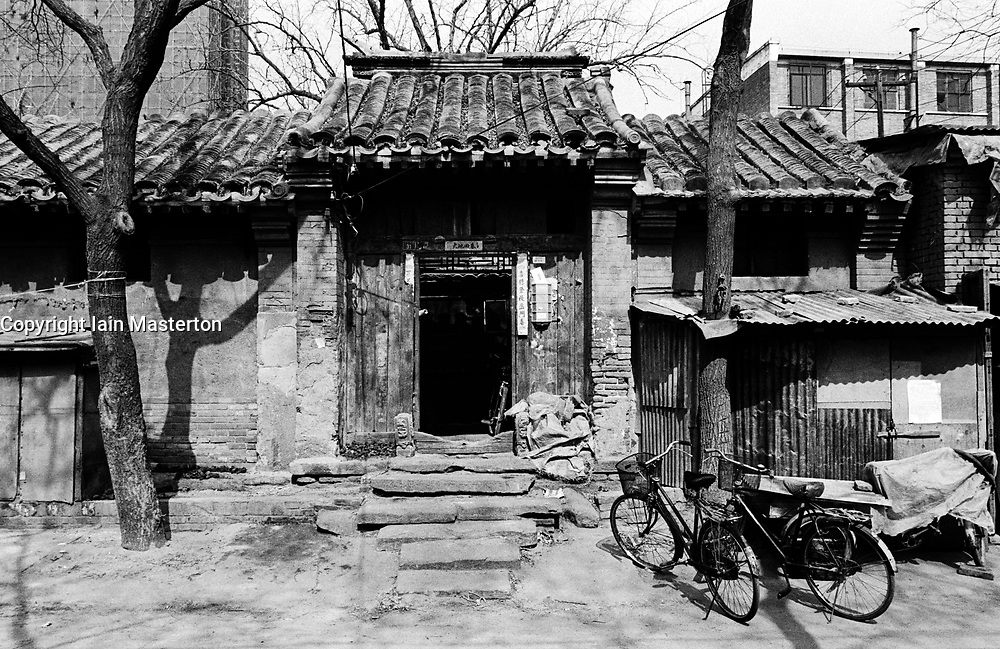 Entrance to very old house in a hutong street in Beijing
