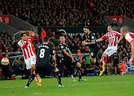 Charlie Adam of Stoke fires a shot at goal late in the game - Football - Barclays Premier League - Stoke City vs Burnley - Britannia Stadium Stoke - Season 2014/2015 - 22nd November 2015 - Photo Malcolm Couzens /Sportimage