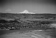 9305-B7012-1 Aerial of Mt. Hood, Columbia River & The Dalles, about 1950