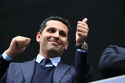 © Licensed to London News Pictures. London, UK. 11/05/2014. London, UK.  Manchester City FC Chairman Khaldoon Al Mubarak celebrates after the team wins the Barclays Premier League at the Etihad Stadium. .Photo credit: LNP