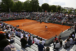 May 23, 2019 - Paris, France - Manuel Guinard (L) of France during a match against Belgian tennis player Kimmer Coppejans in the  third round qualifications of Roland Garros, in Paris, France, on May 22, 2019. (Credit Image: © Ibrahim Ezzat/NurPhoto via ZUMA Press)