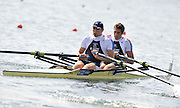 Marathon, GREECE, GBR M2X Bow, Charles COUSINS and Bill LUCUS, at the FISA European Rowing Championships.  Lake Schinias Rowing Course, FRI 19.09.2008  [Mandatory Credit Peter Spurrier/ Intersport Images] , Rowing Course; Lake Schinias Olympic Rowing Course. GREECE