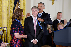 Bill Gates and his wife Melinda announce their divorce. The billionaire co-founder of Microsoft, and his wife, who reside in Washington State, are to divorce after twenty-seven years of marriage, and twenty years of working together in their foundation - File - US President Barack Obama presents Bill and Melinda Gates with the Presidential Medal of Freedom, the nation's highest civilian honor, during a ceremony honoring 21 recipients, in the East Room of the White House in Washington, DC, USA, November 22, 2016. Photo by Olivier Douliery/ABACAPRESS.COM