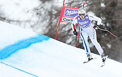 20.01.2011, Tofana, Cortina d Ampezzo, ITA, FIS World Cup Ski Alpin, Lady, Cortina, Abfahrt 2. Training, im Bild Blick von den Tribühnen im Bild Aurelie Revillet (FRA, #2) // Aurelie Revillet (FRA) during FIS Ski Worldcup ladies downhill second training at pista Tofana in Cortina d Ampezzo, Italy on 20/1/2011. EXPA Pictures © 2011, PhotoCredit: EXPA/ J. Groder