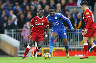 Sadio Mane of Liverpool (l) and Daniel Amartey of Leicester City battle for the ball. Premier League match, Liverpool v Leicester City at the Anfield stadium in Liverpool, Merseyside on Saturday 30th December 2017.<br /> pic by Chris Stading, Andrew Orchard sports photography.