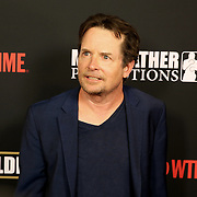 Michael J. Fox is seen on the red carpet prior to the Mayweather versus Maidana boxing match at the MGM Grand hotel on Saturday, May 3, 2014 in Las Vegas, Nevada.  (AP Photo/Alex Menendez)