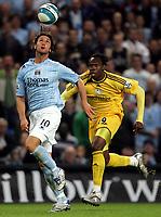 Photo: Paul Thomas.<br />Manchester City v Derby County. The FA Barclays Premiership. 15/08/2007.<br /><br />Rolando Bianchi (L) of City battles with Claude Davis.