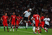 Photo: Tony Oudot/Richard Lane Photography.  England v Czech Republic. International match. 20/08/2008. <br /> Wes Brown of England heads in their first goal