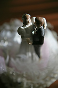 Statues of bride and groom on top of a wedding cake