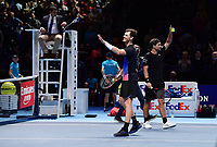 Tennis - 2018 Nitto ATP Finals at The O2 - Day One<br /> <br /> Group Doubles Group Llodra/Santoro: Jamie Murray (GB) & Bruno Soares (Bra) vs. Raven Klaasen (SA) & Michael Venus (NZ)<br /> <br /> Murray celebrates after their victory in the 3rd set tie break.<br /> <br /> COLORSPORT/ASHLEY WESTERN