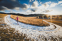 Inge Perkins out for a winter sunset run on the Tripple Tree Trail, Bozeman, Montana.