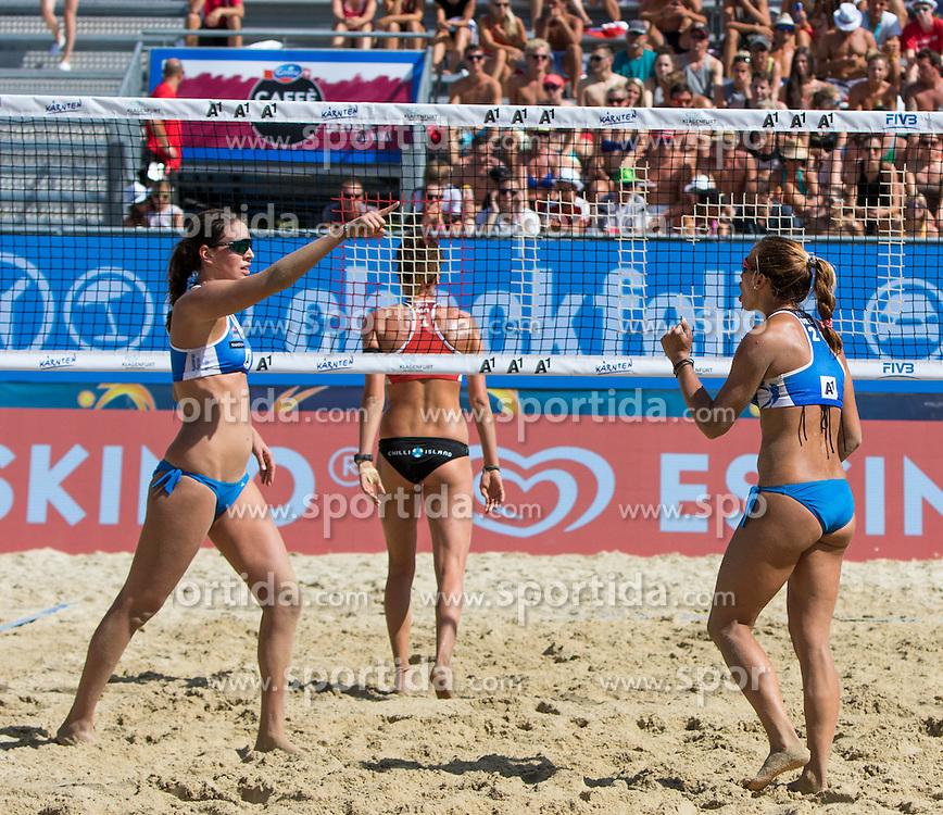 28.07.2016, Strandbad, Klagenfurt, AUT, FIVB World Tour, Beachvolleyball Major Series, Klagenfurt, Herren, im Bild Lena Plesiutschnig (1, AUT) hinten, Panagiota Karagkuoni (1, GRE), Vasiliki Arvaniti (2, GRE) vorne // during the FIVB World Tour Major Series Tournament at the Strandbad in Klagenfurt, Austria on 2016/07/28. EXPA Pictures © 2016, PhotoCredit: EXPA/ Gert Steinthaler