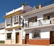 Traditional housing in the popular holiday resort town of Nerja, Malaga province, Spain