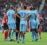 Referee Mike Jones shows the red card to Eliaquim Mangala of Manchester City<br />  - Barclays Premier League - Southampton vs Manchester City - St Mary's Stadium - Southampton - England - 30th November 2014 - Pic Robin Parker/Sportimage