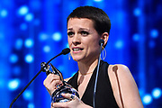 Brussels , 01/02/2020 : Les Magritte du Cinema . The Academie Andre Delvaux and the RTBF, producer and TV channel , present the 10th Ceremony of the Magritte Awards at the Square in Brussels .<br /> Pix: Veerle Baetens , dressed by Christian Wijnants , jewels by Celine Daoust , shoes by Christian Louboutin<br /> Credit : Alexis Haulot - Dana Le Lardic - Didier Bauwerarts - Frédéric Sierakowski - Olivier Polet / Isopix