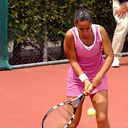 Finale eredivisie playoffs 2004 tennis Hilverheide - De Manege, Elise Tamaela