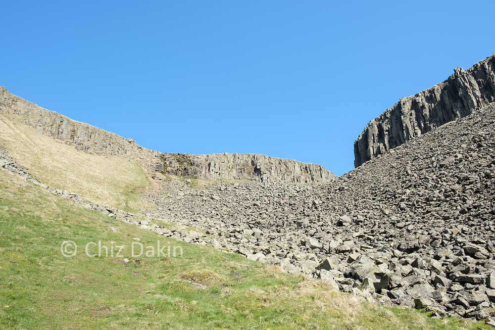 The awkward boulder field leading into High Cup Nick can be avoided with a grassy ramp.