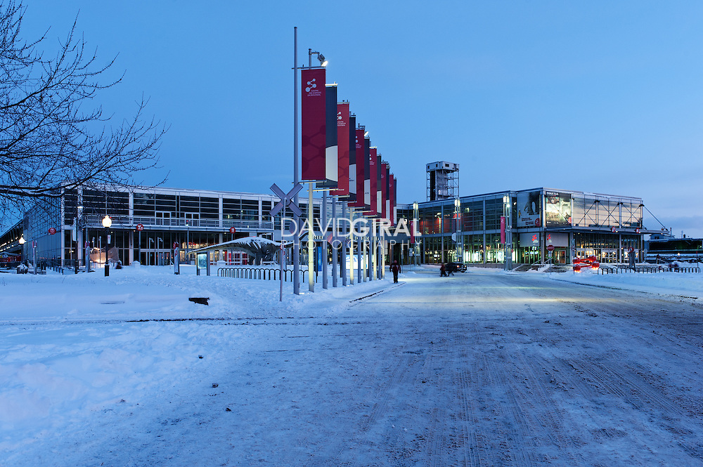 Picture of centre des sciences de Montreal at dusk in winter, Old Port, Old Montreal, Quebec, Canada