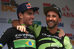 Stage winners Henrique Avancini and Manuel Fumic of Cannondale Factory Racing XC celebrate on the podium during stage 1 of the 2017 Absa Cape Epic Mountain Bike stage race held from Hermanus High School in Hermanus, South Africa on the 20th March 2017<br /> <br /> Photo by Shaun Roy/Cape Epic/SPORTZPICS<br /> <br /> PLEASE ENSURE THE APPROPRIATE CREDIT IS GIVEN TO THE PHOTOGRAPHER AND SPORTZPICS ALONG WITH THE ABSA CAPE EPIC<br /> <br /> ace2016