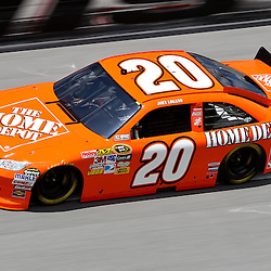 April 16, 2011; Talladega, AL, USA; NASCAR Sprint Cup Series driver Joey Logano (20) during qualifying for the Aarons 499 at Talladega Superspeedway.   Mandatory Credit: Derick E. Hingle