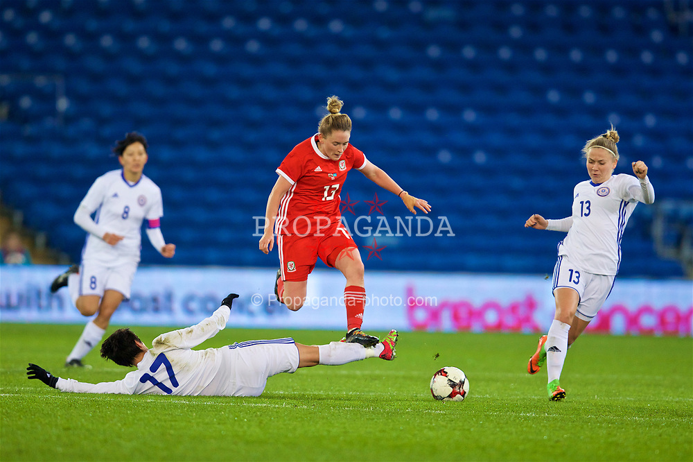 CARDIFF, WALES - Friday, November 24, 2017: Wales' Rachel Rowe is tackled by Kazakhstan's Karina Zhumabaikyzy during the FIFA Women's World Cup 2019 Qualifying Round Group 1 match between Wales and Kazakhstan at the Cardiff City Stadium. (Pic by David Rawcliffe/Propaganda)