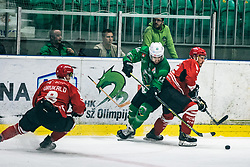 Ziga Urukalo of HDD Jesenice during 500th derbi between HK SZ Olimpija Ljubljana vs HDD SIJ Acroni Jesenice  - AHL 2019/20, on the 26th of  Oktober, Ljubljana, Slovenia. Photo by Matic Ritonja / Sportida