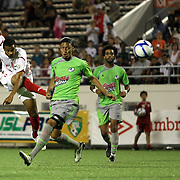 Orlando City Lions Forward Maxwell Griffin (11) shoots on goal during a United Soccer League Pro soccer match between Puerto Rico United and the Orlando City Lions at the Florida Citrus Bowl on April 22, 2011 in Orlando, Florida.  (AP Photo/Alex Menendez)