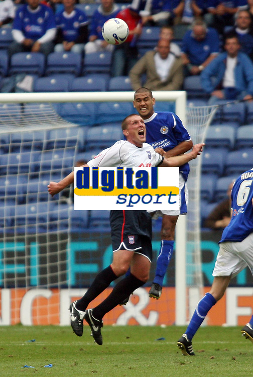 Photo: Chris Ratcliffe.<br />Leicester City v Ipswich Town. Coca Cola Championship. 12/08/2006.<br />Jason De Vos (L) of Ipswich clashes with Patrick Kisnorbo of Leicester.