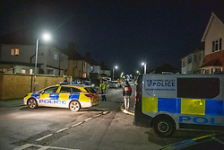 © Licensed to London News Pictures. 02/11/2020. Maidenhead, UK. An outer police cordor close to the house that came under attack on Moor Lane. A house has been 'petrol-bombed' on Moor Lane in Maidenhead, an altercation took place on the roadside before what is believed to be a petrol-bomb was throw at the house causing exterior damage. Photo credit: Peter Manning/LNP