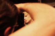 A model is photographed backstage at the Y&Kei runway show, part of New York's Fashion week.