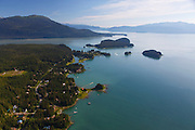 Aerial view of Juneau and Gastineau Channel, Alaska.