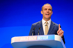 © Licensed to London News Pictures. 05/10/2021 Manchester, UK. Dominic Raab speaking Conservative Party Conference. Photo credit: Jess Hurd/LNP