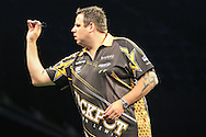 Adrian Lewis during the Betway Premier League Darts Play-Offs at the O2 Arena, London, United Kingdom on 19 May 2016. Photo by Shane Healey.