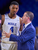 Middle Tennessee Blue Raiders head coach Nick McDevitt talks with Middle Tennessee Blue Raiders forward Tyson Jackson (4)  during the Southern Mississippi Golden Eagles at Middle Tennessee Blue Raiders college basketball game in Murfreesboro, Tennessee, Saturday, March, 7, 2020.<br /> Photo: Harrison McClary/All Tenn Sports