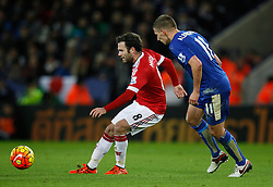 Juan Mata of Manchester United (L) and Marc Albrighton of Leicester City in action  - Mandatory byline: Jack Phillips/JMP - 07966386802 - 28/11/2015 - SPORT - FOOTBALL - Leicester - King Power Stadium - Leicester City v Manchester United - Barclays Premier League