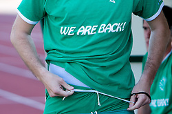 "Jersey of Olimpija with a sign ""We are back!"" at final match of 2nd SNL league between NK Olimpija in NK Aluminij, on May 23, 2009, ZAK, Ljubljana, Slovenia. Aluminij won 2:1. NK Olimpija is a Champion of 2nd SNL and thus qualified to 1st Slovenian football league for season 2009/2010. (Photo by Vid Ponikvar / Sportida)"