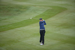 Great Britain's Meghan MacLaren plays her approach shot at the 7th hole during her semi final match with France this morning during day eleven of the 2018 European Championships at Gleneagles PGA Centenary Course.