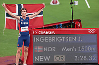 210807 -- TOKYO, Aug. 7, 2021 -- Jakob Ingebrigtsen R of Norway competes during the men s 1500m final at Tokyo 2020 Olympic Games, Olympische Spiele, Olympia, OS in Tokyo, Japan, Aug. 7, 2021.  TOKYO2020JAPAN-TOKYO-OLY-ATHLETICS-MEN S 1500M-FINAL ZhangxChuanqi PUBLICATIONxNOTxINxCHN
