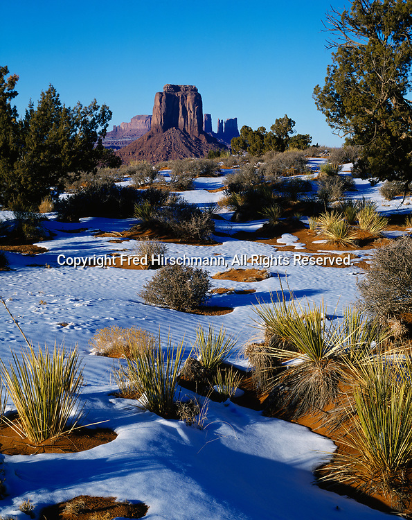 Winter afternoon, Monument Valley Tribal Park, Navajo Reservation, Arizona.