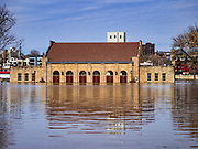 29 MARCH 2019 - ST. PAUL, MN: A flooded building on Harriet Island in St. Paul. The Mississippi River through the Twin Cities has already hit flood stage. Several roads and parks in St Paul are already closed in anticipation of higher flood levels. Weather forecasters and hydrologists have backed off a little on earlier predictions of severe flooding because the snow melt has been slower than expected.     PHOTO BY JACK KURTZ