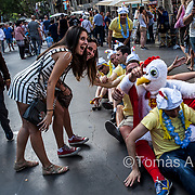 In a scene of chaos and permissiveness with the profitable activities of tourism, the city is turning into a showcase where tourists give free rein to their holiday dreams and expectations. French stag party in Las Ramblas.