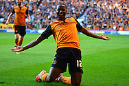 Benik Afobe celebrates scoring the third goal during the Sky Bet Championship match between Wolverhampton Wanderers and Leeds United at Molineux, Wolverhampton, England on 6 April 2015. Photo by Alan Franklin.