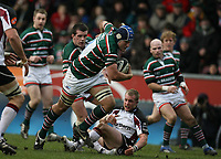 Photo: Rich Eaton.<br /> <br /> Leicester Tigers v Newcastle Falcons. Guinness Premiership. 27/01/2007. Jordan Crane of Leicester Tigers leads the charge in the centre with scrum cap