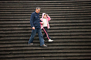 Chinese man and child in Chongqing. China has a one child family planning policy to reduce population.